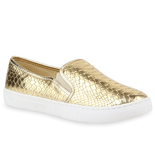 Damen Sneakers Slipper Slip-ons Metallic Kroko Gold Silber New Look | Flandell®