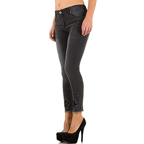 Used Look Low Skinny Jeans Für Damen bei Ital-Design Grau KL-J-C9105