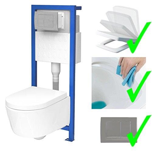 All-In-One-Set V2: Lavita Vorwandelement inkl. Drückerplatte chrom + Wand WC ohne Spülrand + WC-Sitz mit Soft-Close-Absenkautomatik