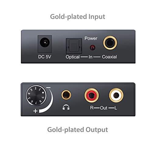 PROZOR 192KHz DAC Konverter Wandler Digital SPDIF Optisch Caaxial Toslink zu Analog Stereo Audio L/R RCA 3,5mm Anschluss Konverter Adapter einstellbare Lautstärke mit USB-Netzkabel und 4.0 OD optische Kabel Aluminiumlegierung Audio Wandler für TV Box HDTV Blue-ray DVD PS3 Xbox PS4 Spielekonsolen Heimkino System AV Verstärker - 5
