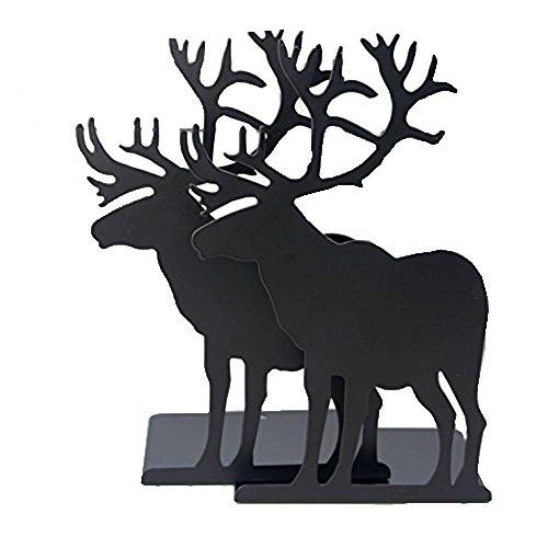 Winterworm Fashion Creative Cartoon Eisen Elch Muster rutschfeste Metall Büro Schreibtisch Buchstützen schwarz -