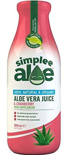 Simplee Aloe Organic Aloe Vera Juice - Cranberry 500ml (Pack of 2)