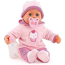 Bayer Design - 93816AA - Muñeca bebé primeras Palabras (24 Sonidos, 38 cm) - muñeca con un biberón y un Chupete, Color Rosa