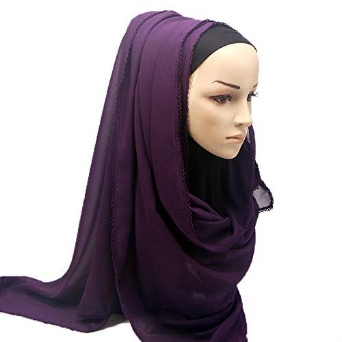 Hmeili Schals 1 Pc Frauen Blase Chiffon Spitze Kanten Schal Hijab Lang Wrap Schals Plain Stirnband Schals Großhandel 180 * 75 cm -
