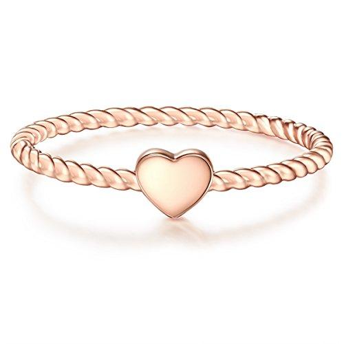 Glanzstücke München Damen-Ring Herz Sterling Silber rosévergoldet - Damen-Schmuck Freundschafts-Ringe dünner Steck-Ring, Gold, Gr. 60 (19.1)