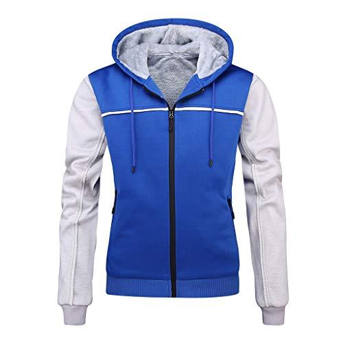ZHANSANFM Sweatshirts Herren Pullover mit Kapuze Mode Patchwork Plus Samt Kapuzenjacke Reißverschluss Hoody Kapuzenpullover Slim Fit Weiche Jacke Warm Casual Outwear Mäntel (M, Blau) -