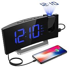 Idea Regalo - [Versione AGGIORNATAa] Mpow Radiosveglia con Proiettore Dimmerabile, FM Orologio con Doppi Allarmi, USB Porta di Ricarica, Funzione di Snooze, Sleep Timer, 5'' Display LED con Dimmer, 12/24 Ora