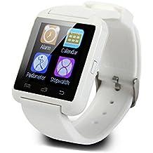 Smartwatch Padcod Bluetooth Smart Watch Reloj Inteligente U8 Bluetooth Soporte Smartwatch Reloj de Pulsera, Llamadas Manos Libres, Anti-Pérdida, SMS/SNS Alertas de Mensajes, Reloj Deportivo con Podómetro, Monitor de Sueño Uwatch para Teléfonos Inteligentes Android Samsung HTC LG SONY Huawei IOS iPhone 5 / 5s / 6/7/8 / 8plus iPhone X (Blanco)