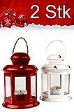 MAADES Weihnachtslaterne, 2er SET, Windlicht Laterne für Weihnachten, kleine Laternen für draußen, aus Metall und Glas, Windlichter als Weihnachtsdeko, 13cm hoch, als Beleuchtung oder Dekoration, für Kerzen & Teelichter, in 2 Farben