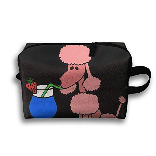 69b149d50f8b HOT Cool Funny Pink Poodle Dog Drinking Portable Travel Bag Female Travel  Cosmetics Can Also Be Easy to Carry£¡