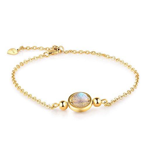 Dalwa 925 Silber Armband Damen mit 14 Karat 585 Gold Überzogen/Edelstein Mondstein - Charm Armkette inkl. Geschenkverpackung