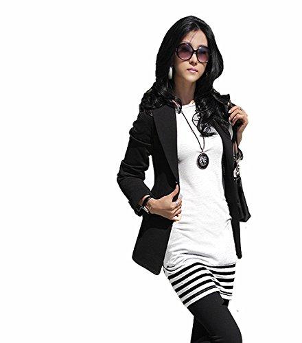 5-78 Damen Minikleid Kleid Tunika mit schwarzen Streifen Japan Style von Mississhop Weiß (Und Weißen Rock Schwarz Outfit)