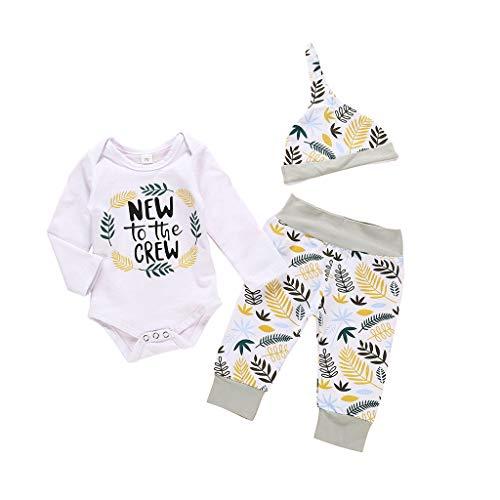 Comie Baby Einteiliger Anzug, Neugeborenes Baby Jungen Mädchen Brief Strampler Floral Hosen Outfits Set, Warm Bekleidungsset Outfits