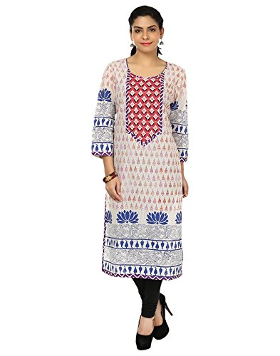Kurtis for women by ALZARA Women's Cotton Chikankari Straight (Az-1112_Off-White_X-Large)