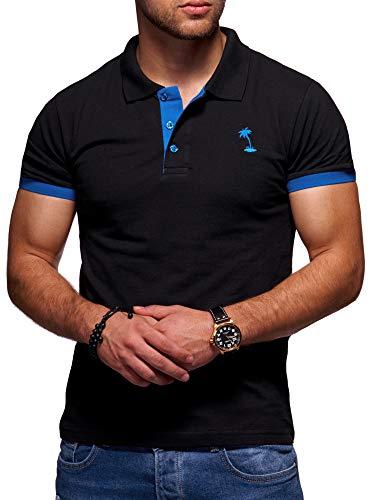 behype. Herren Kurzarm Basic Kontrast Polo-Shirt 20-0337 Schwarz-Blau XXL