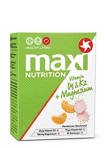 MaxiNutrition Vitamin D3 & K2 + Magnesium Brausetabletten – Sportgetränk für gesunde Knochen mit natürlichen Mineralstoffen und Vitaminen – 3er Pack (3 x 20 Vitamin Brausetabletten)