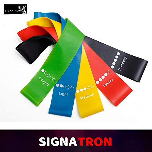 SIGNATRON Resistance Loop Exercise Bands for Squats, Hips, Legs, Butt, Glutes and Heavy Workouts Physical Therapy, Rehab, Stretching, Home Fitness (Set of 5)
