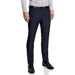 oodji Ultra Hombre Pantalones Clásicos con Acabados en Contraste en los Bolsillos, Azul, ES 46 (L)