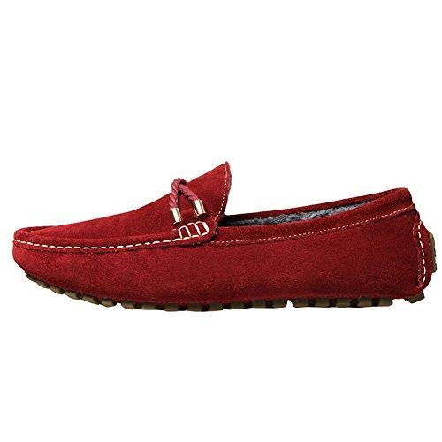 ODEMA hommes de conduite Appartements à enfiler mocassin Flâneur Chaussures vin rouge (fourrure)