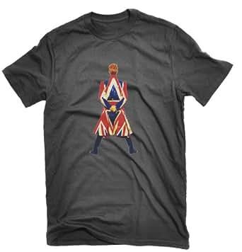 David Bowie Earthling T-shirt Union Jack (Small, Black)