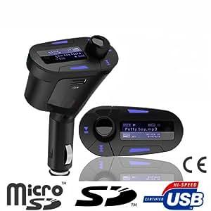 amzdeal Hakutatz Transmetteur FM Lecteur MP3 Blue Edition pour la voiture Auto Car Truck Radio SD TF clé USB compatible avec l'iphone ipod lecteur mp3