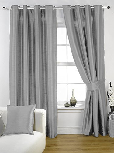 Luxury plain faux silk eyelet top pair of ready-made curtains with tie-backs Silver 66″ x 72″