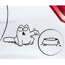 Simons Cat Aufkleber f/ür z.b Tankdeckel mit Diesel Benzin Super und Ohne Aufruck im Napf weiss ohne Beschriftung