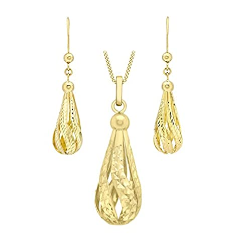 Carissima Gold 9ct Yellow Gold Diamond Cut Semi Hollow Teardrop Earrings and Pendant on Curb Chain Necklace of 46cm/18