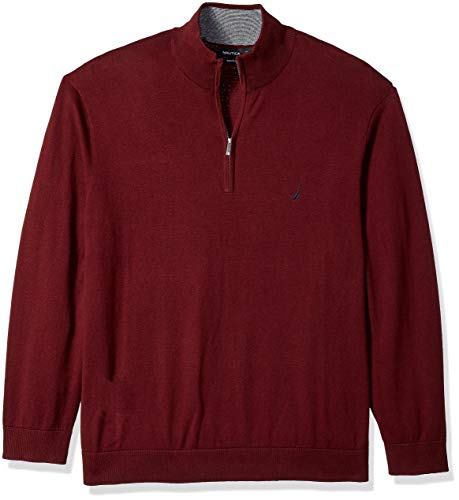 Nautica Herren Half-Zip Mock Neck Sweater Pullover, Royal Burgundy, 4X Groß - Mock Neck Sweater