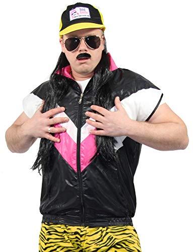 Foxxeo 80er Jahre Herren Weste für Jungen Kostüm - schwarz pink - Größe XXL/XXXL