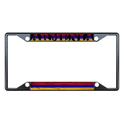 Preisvergleich Produktbild Saniwa Nummernschild Bezüge Armenien Armenien gewellt Flagge Schwarz Metall Nummernschild Rahmen Tag Halter Vier Löcher