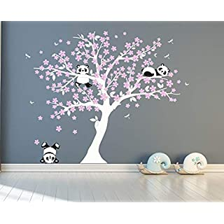 Blossom Tree Wall Sticker Cute Panda Bears Wall Art Decal for Baby Nursery Children Room Decor (White and Pink)