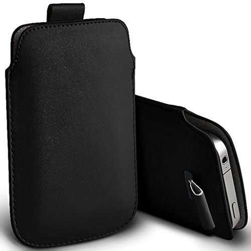 Price comparison product image I-Sonite (Black) Premium Slip In Pull Tab Sleeve Faux Leather Pouch Case Cover For Motorola Moto G7 Play [XXL]