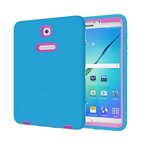 Galaxy Tab S28.0Fall, beimu 3in 1Hybrid PC + Silikon stoßfest stoßabsorbierenden Ecke/Bumper Schutz Armor Defender Schutzhülle für Samsung Galaxy Tab S28.0sm-t710/sm-t715, Blue+Rose