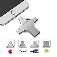 USB Flash Drive 16GB/ 32GB/ 64GB/ 128GB, Elekmall 4 in 1 - USB Memory Stick Data Transfer External Storage with Lightning USB Type-C Ports for Apple iPhone iPad IOS Android Tablet Mac PC Connector USB 2.0 (Silver 128G)