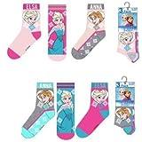 Disney Seis pares de calcetines para niña Frozen Anna y Elsa