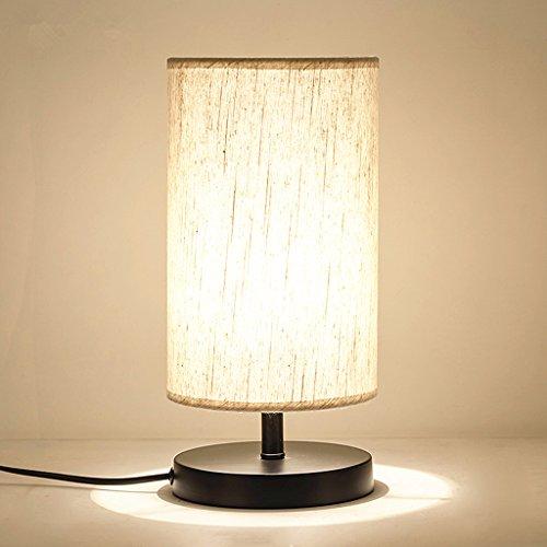 Lampe De Table De Chevet Minimaliste En Bois Massif Lampe De Chevet Lampe De Bureau Lampe De Bureau Simple Lampe De Chevet Ronde Avec Abat-jour En Tissu E27 * 1 LED