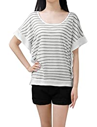 Allegra K Women's Poncho Sleeves Scoop Neck Loose Striped T-Shirt