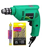 Khadija HI MAX 10mm 400W Reverse Forward Rotation Drill Machine with 1 Masonry Bit and 13 Piece HSS Drill Set