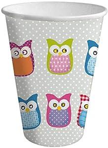 Braun & Company 3803-13036/FE Many Owls - Vasos de Fiesta para niños (10 Unidades), Color Gris