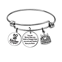 KENYG 13th 16th 18th 21st 30th 35th 40th 45th 50th 55th 60th 65th Silver Charm Women Bracelets Bangles Anniversary Birthday Business Inspirational Jewelry NA 50th