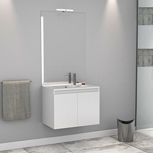 Meuble salle de bain simple vasque PROLINE 70 - Blanc brillant