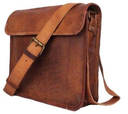 AOL Herren Damen Leder Halb Umhängetasche Flap Crossover 27,9cm Messenger Bag Sling Bag Braun -