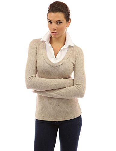 PattyBoutik femmes pull et chemise 2 en 1 beige chiné