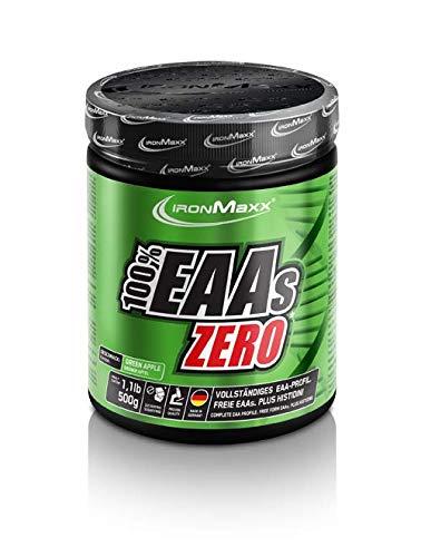 IronMaxx 100% EAAs Zero, Apfel - Reines Aminosäuren-Pulver - Zuckerfreies Supplement für den Muskelaufbau - 1 x 500 g Pulver -