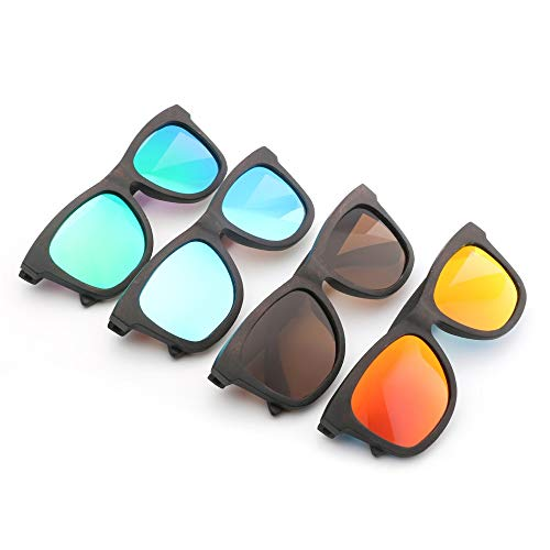 Handgefertigte Bambus-Hipster-Retro-Trend-Bambus-Holz-Sonnenbrillen gestalten Brillen für Unisex-Uv400 Brille (Color : Green)