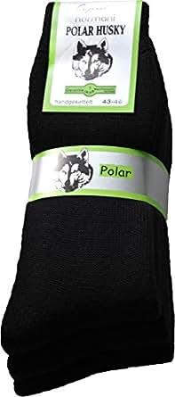 6 Paar Sehr Warme Original Polar Husky Socken mit Vollplüsch Sohle und Schafwolle / Nie wieder Kalte Füße! Farbe schwarz Größe 35/38