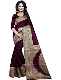 J B Fashion Women's Multi Colour Kalamkari Silk Saree With Blouse Material
