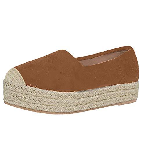 xmansky Damen Sommer Sandalen Wedges Leopard Casual Schuhe Strap Gladiator Roman Sandalen, Damenmode Gras Weben Plattform Slip On Round Toe Casual Wohnungen Bootsschuhe