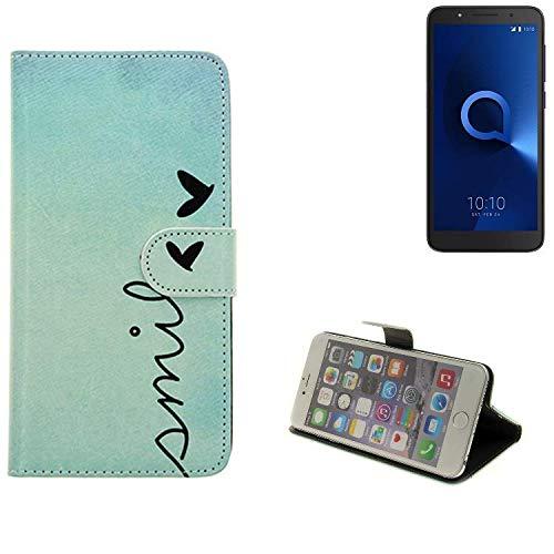 K-S-Trade Für Alcatel 1C Single SIM Hülle Wallet Case Schutzhülle Flip Cover Tasche bookstyle Etui Handyhülle ''Smile'' türkis Standfunktion Kameraschutz (1Stk)